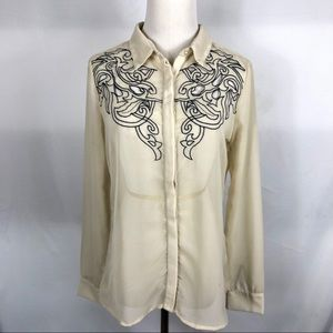 ROMEO & JULIET Couture Ivory Sheer Blouse